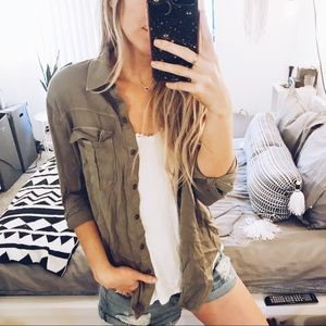 Army green military button up blouse
